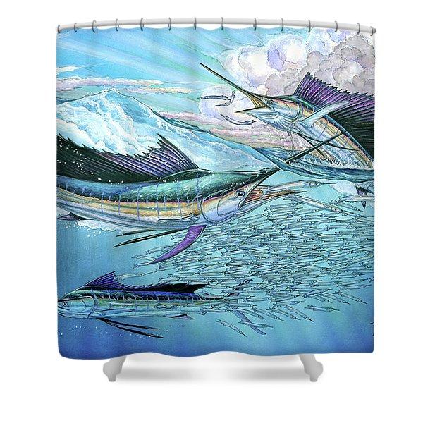 Three Sailfish And Bait Ball Shower Curtain