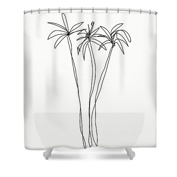 Three Tall Palm Trees- Art By Linda Woods Shower Curtain