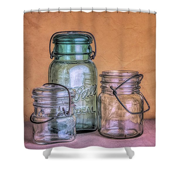 Three Vintage Ball Jars Shower Curtain