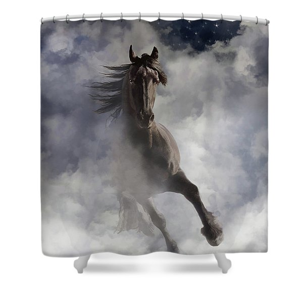 Shower Curtain featuring the digital art Through The Clouds by Melinda Hughes-Berland