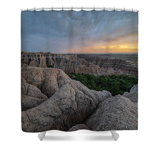 Thunder Over The Badlands Shower Curtain