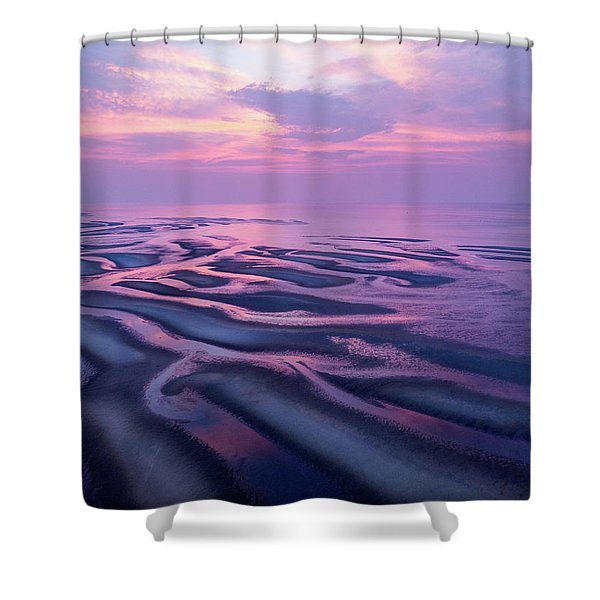Tidal Flats Sunset Shower Curtain