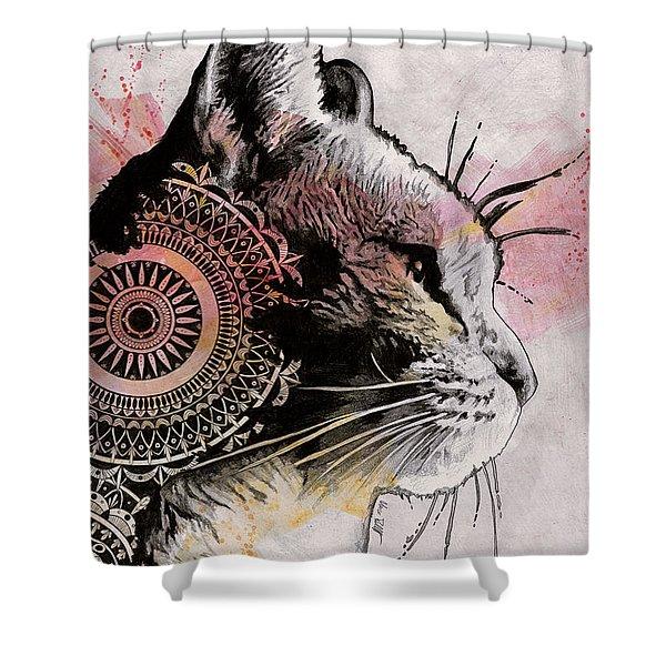 Tides Of Tomorrow - Mandala Tabby Cat Drawing, Animal Portrait Shower Curtain