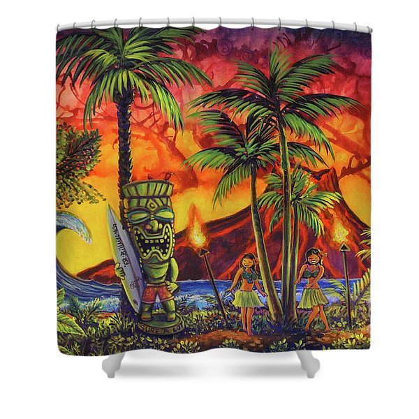 Tiki Surf A Lot Shower Curtain