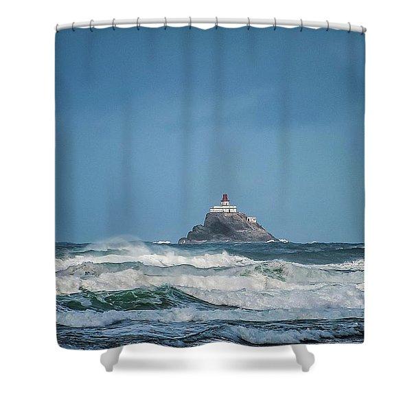 Tillamook Rock Lighthouse Near Cannon Beach Shower Curtain