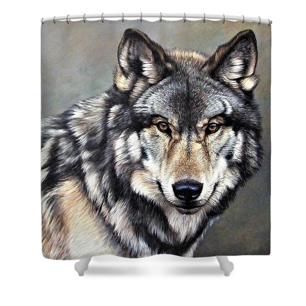 Shower Curtain featuring the painting Timber Wolf By Alan M Hunt by Alan M Hunt