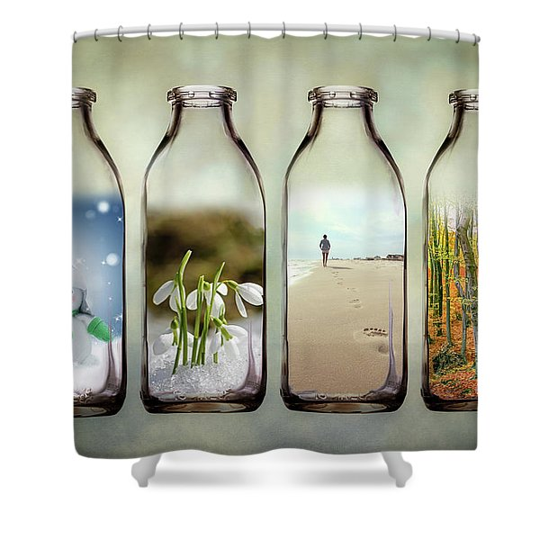 Time In A Bottle - The Four Seasons Shower Curtain