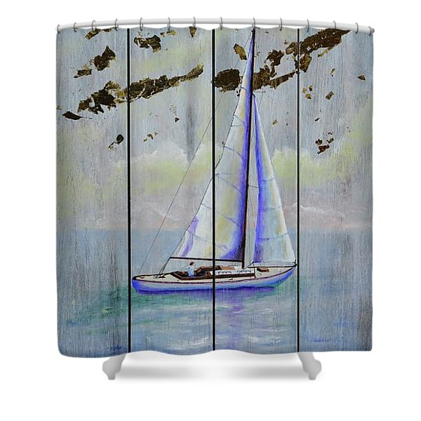 Shower Curtain featuring the painting Time To Sail by Mary Scott