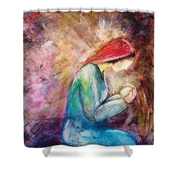 Shower Curtain featuring the painting Tiny Treasure by Deborah Nell