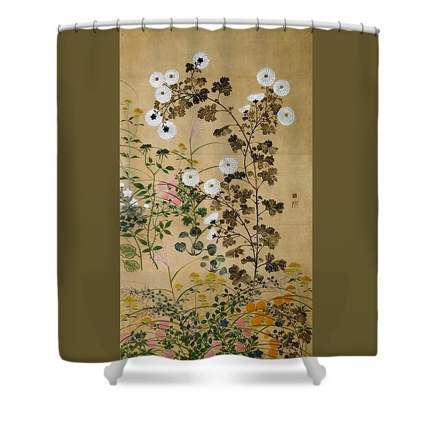 Top Quality Art - Flowering Plants In Autumn #2 Shower Curtain