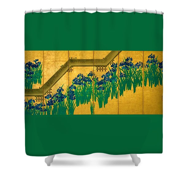 Top Quality Art - Irises At Yatsuhashi-eight Bridges #2 Shower Curtain