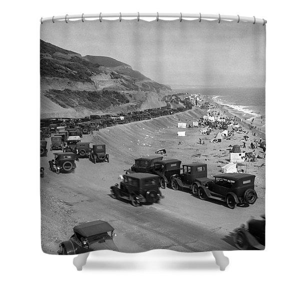 Topanga State Beach 1920 Shower Curtain