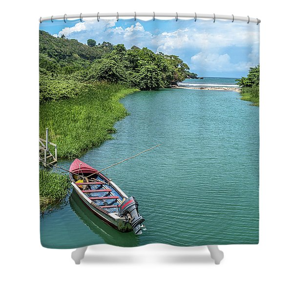 Tour Boat In Jamaica Shower Curtain