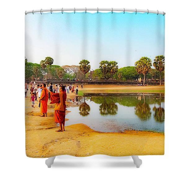 Tourists At Angkor Wat - Siem Reap, Cambodia Shower Curtain