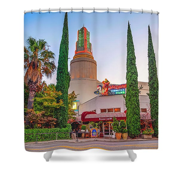 Tower Cafe Sunset- Shower Curtain