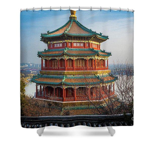 Tower Of Buddhist Incense Shower Curtain