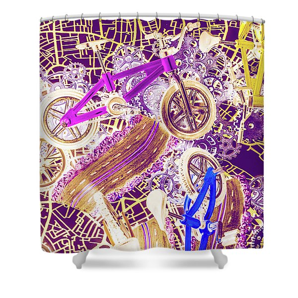 Tracks And Tires Shower Curtain