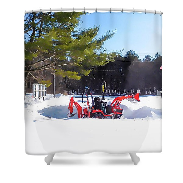Tractor Cleaning Snow 1 Shower Curtain