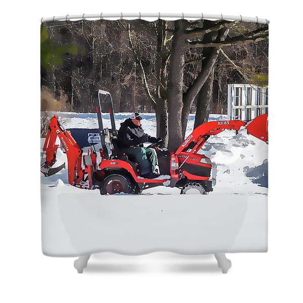 Tractor Cleaning Snow 2 Shower Curtain