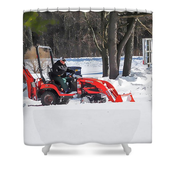 Tractor Cleaning Snow 4 Shower Curtain