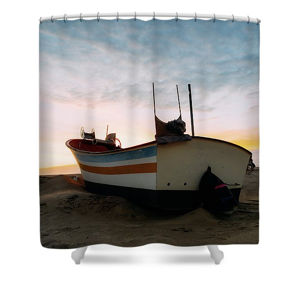 Traditional Wooden Fishing Boat Shower Curtain