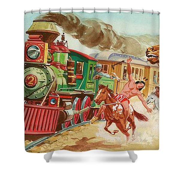 Train Being And Native American Indians Shower Curtain