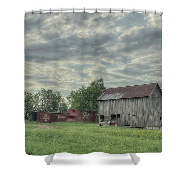 Train Cars And A Barn Shower Curtain