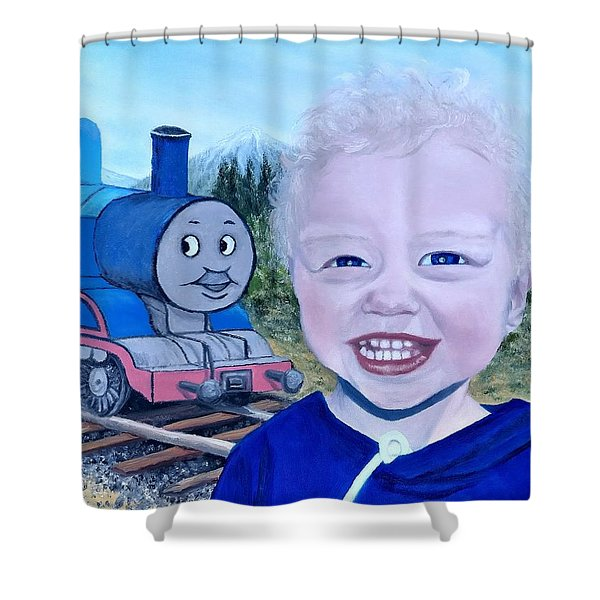 Shower Curtain featuring the painting Train by Kevin Daly