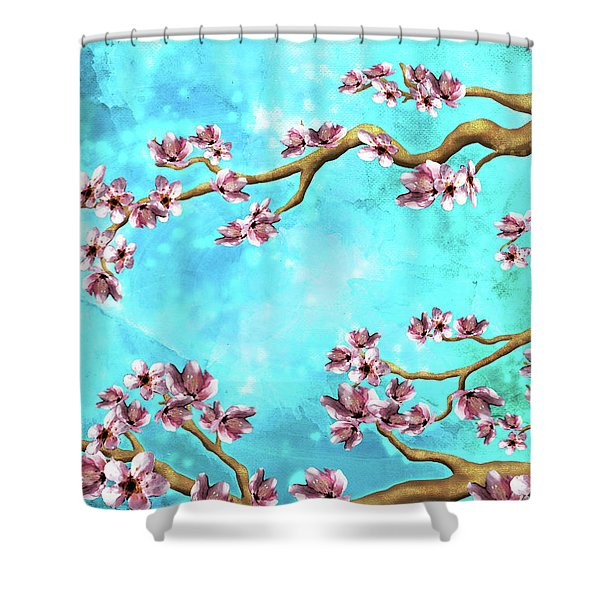 Tranquility Blossoms In Blue And Pink Shower Curtain