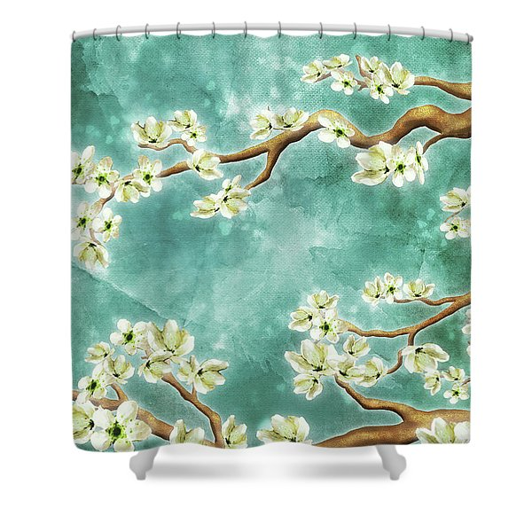 Tranquility Blossoms In Teal Shower Curtain