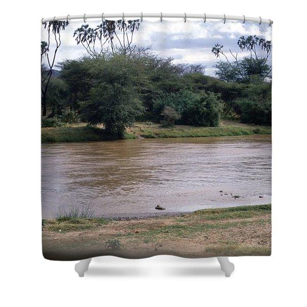 Travel, African Safari 1983, Africa, Wildlife, River Shower Curtain