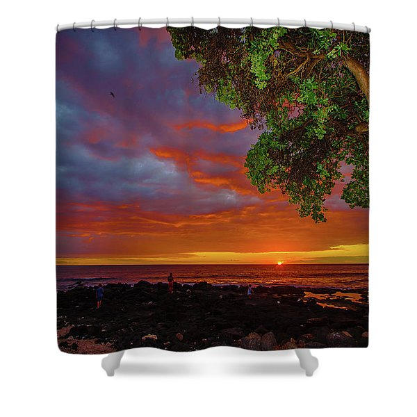 Tree  Sea And Sun Shower Curtain