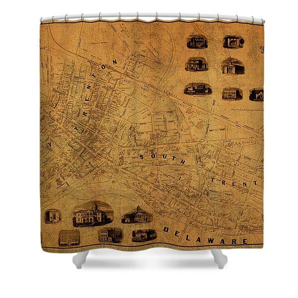 Trenton New Jersey Vintage City Street Map 1849 Shower Curtain