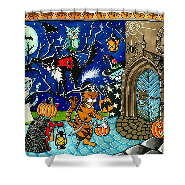 Trick Or Treat Halloween Cats Shower Curtain