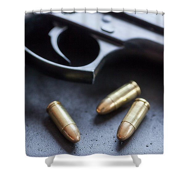 Trigger And Bullets Shower Curtain