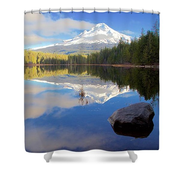 Trillium Lake November Morning Shower Curtain