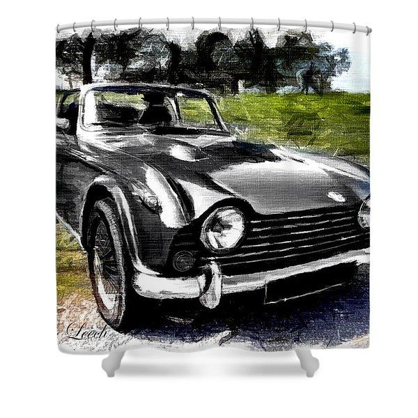 Triumph Tr5 Monochrome With Brushstrokes Shower Curtain