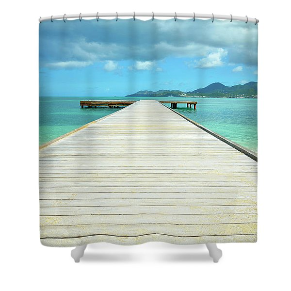 Tropical Caribbean Dock - St. Maarten Shower Curtain