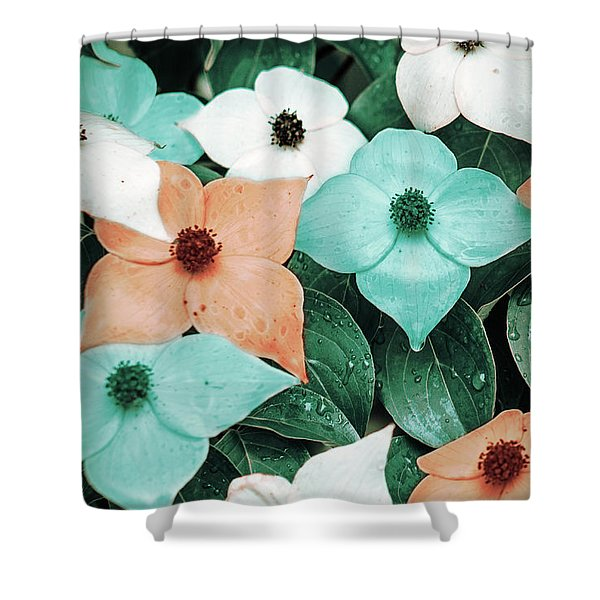 Tropical Dogwood Flowers Shower Curtain