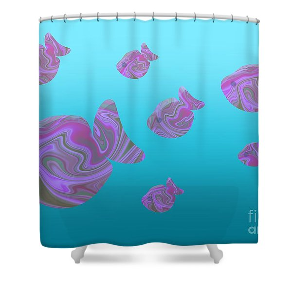 Tropical Fish In Pink Psychedelic Pattern Shower Curtain