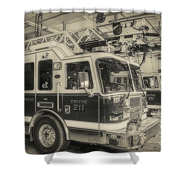 Truck And Engine 211 Shower Curtain