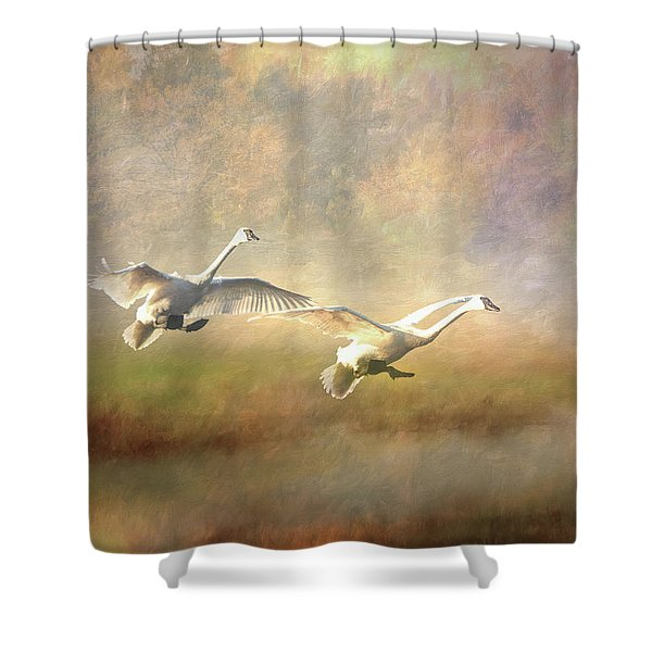 Shower Curtain featuring the photograph Trumpeter Swan Landing - Painterly by Patti Deters