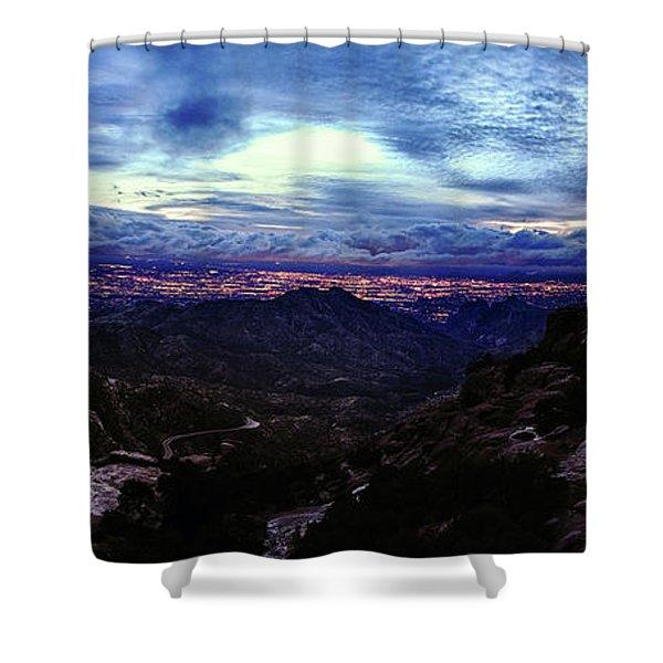 Tucson Twilight Panorama Shower Curtain