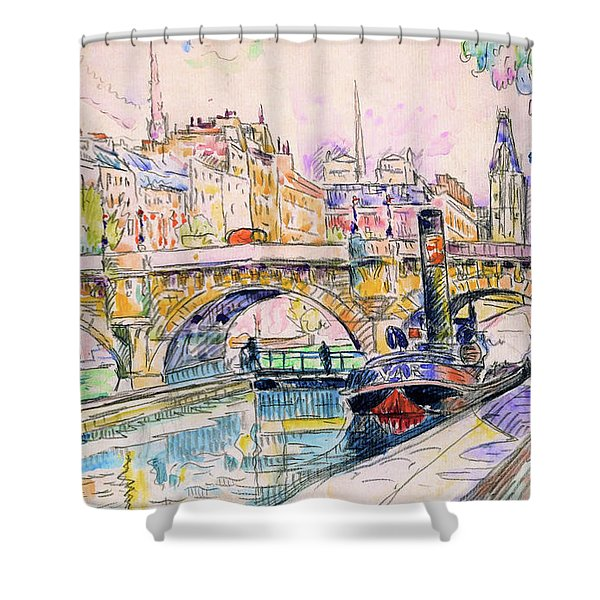Tugboat At The Pont Neuf, Paris - Digital Remastered Edition Shower Curtain