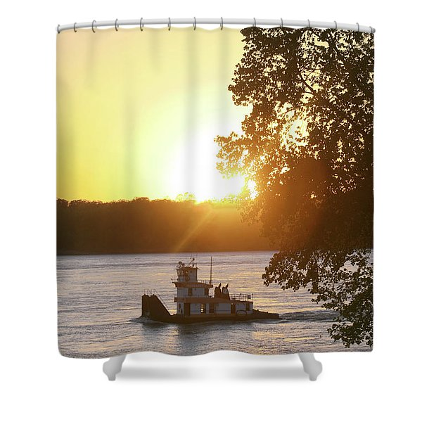 Tugboat On Mississippi River Shower Curtain