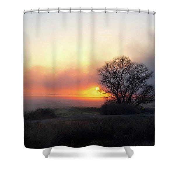 Tule Fog Sunrise  Shower Curtain