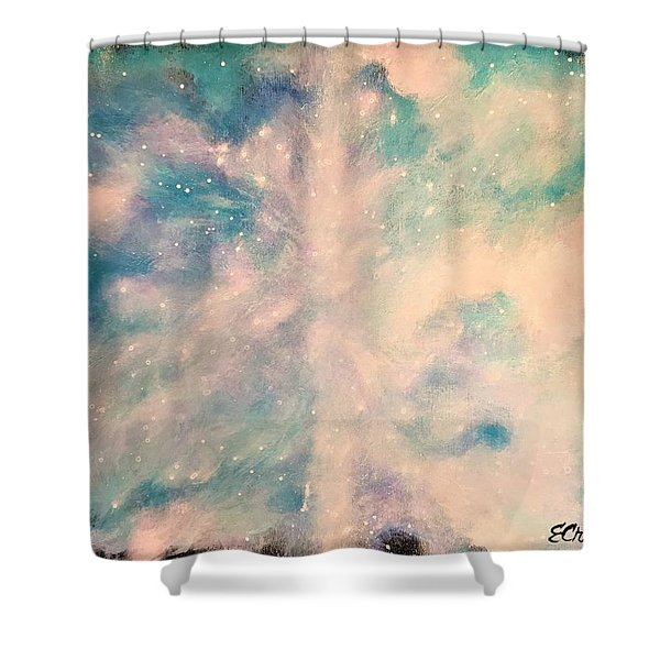 Turquoise Cosmic Cloud Shower Curtain