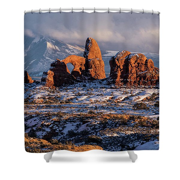 Turret Arch Winter Sunset Shower Curtain