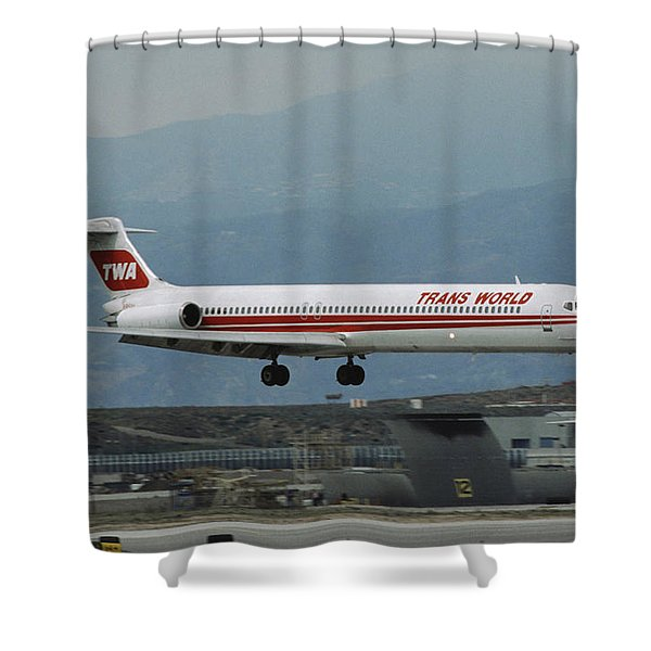 Twa Md-80 Landing At Los Angeles Shower Curtain