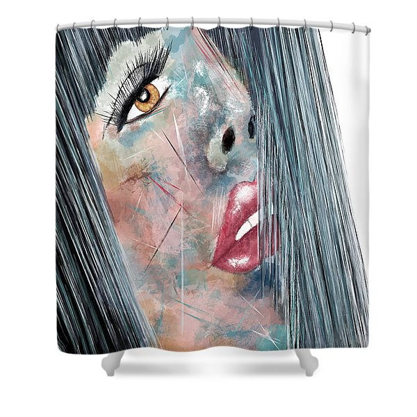 Twilight - Woman Abstract Art Shower Curtain